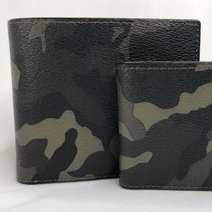 Coach Men's Green Camo Print Wallet 3-IN-1 Wallet